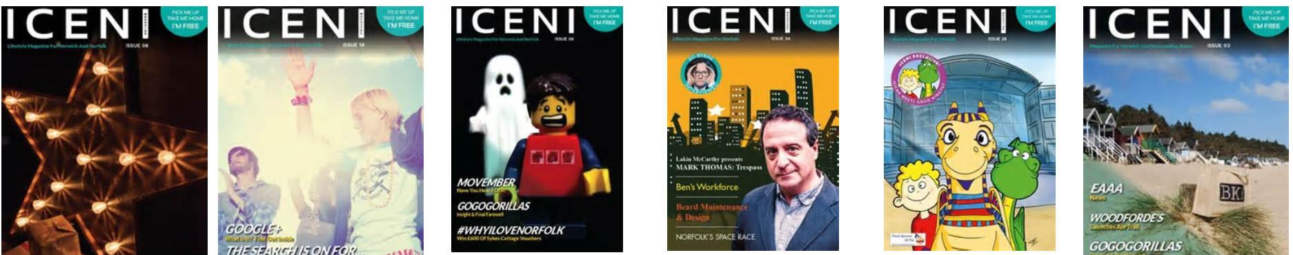 selection of Iceni Magazine covers