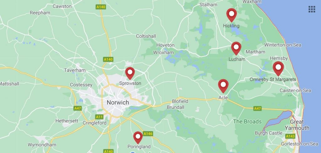 Map of locations of Julian Askham Pilates classes in Norfolk, Acle, Sprowston, Poringland, Hickling, Ludham, Ormesby St Margarets